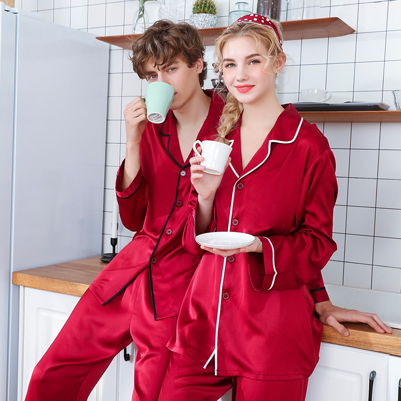 Pajamas-Sets Sleepwear Long-Sleeved Plus-Size Summer And Silk Two-Piece-Suits Household