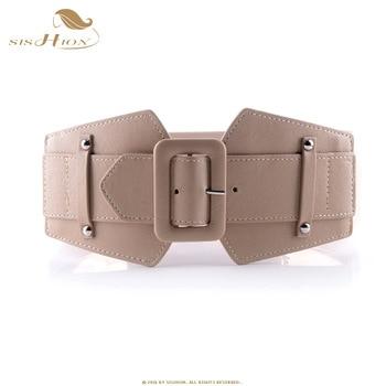 SISHION Vintage Wide Belts for Women Famous Brand Designer Elastic Party Belts Women's Red Camel Black Costume Belts VB0007 4
