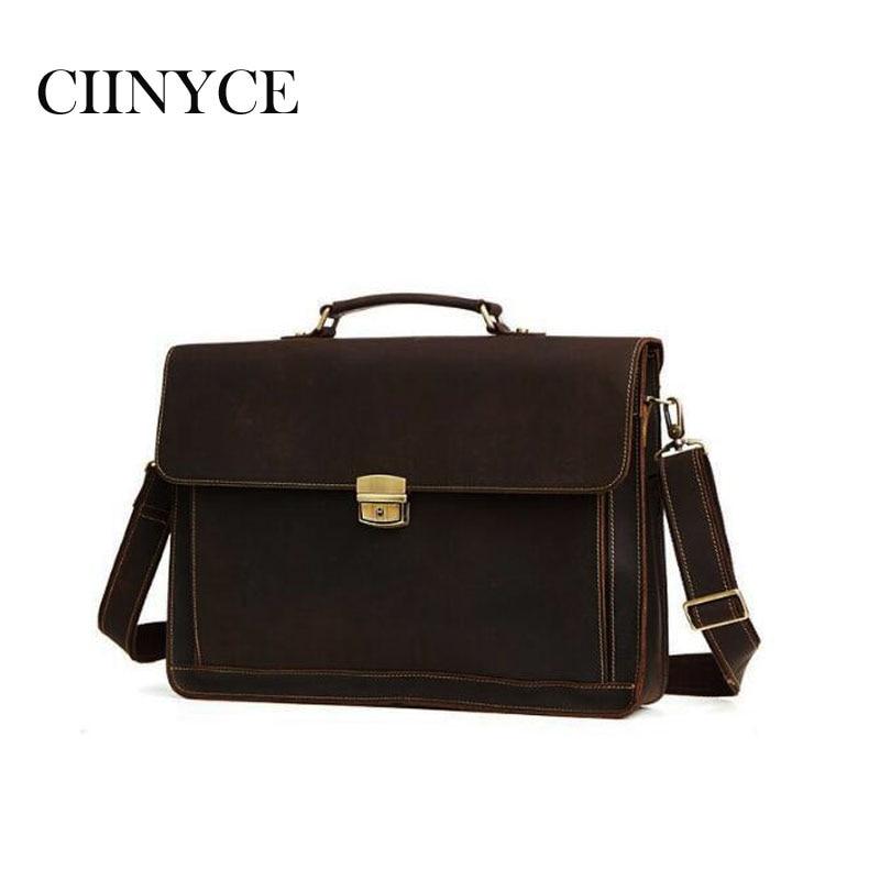 Vintage Cowhide Genuine Leather Handmade Crazy Horse Business Briefcase 15.6 Inch Laptop Men's Handbags Crossbody Messenger Bags