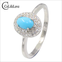 Elegant turquoise silver ring for woman 4 mm * 6 mm natural turquoise ring sterling silver turquoise jewelry romantic gift