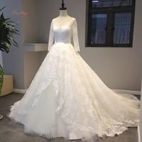 Dream Angel Luxe V-hals Lange Mouwen Kant Trouwjurken 2018 Sexy Kapel Trein Vintage Bruid jurk Robe De Mariage Plus Size