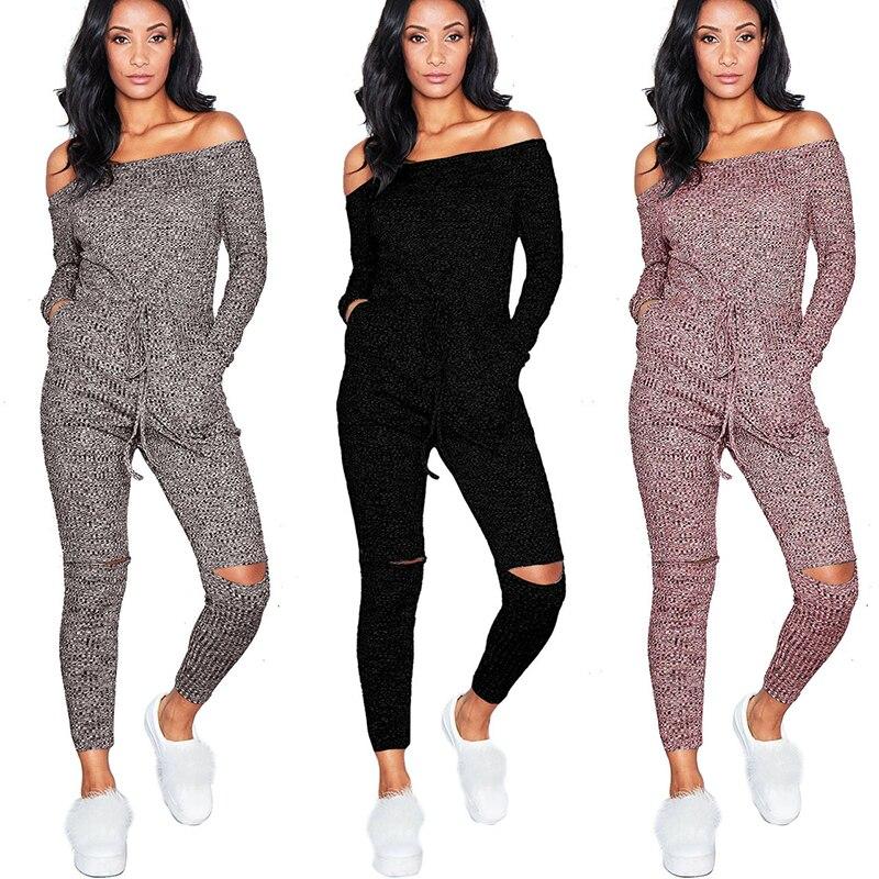 Dream Vine Plus Size XXL Elegant Slash Neck Off Shoulder Knitting Jumpsuit Rompers Combinaison Femme Cut Out Overalls for Women