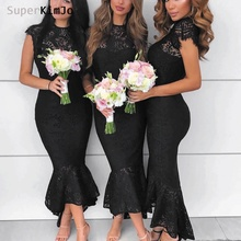 SuperKimJo Lace Bridesmaid Dresses 2019 Vetsido De Novia  Black Mermaid Short Sleeve Vintage Wedding Guest