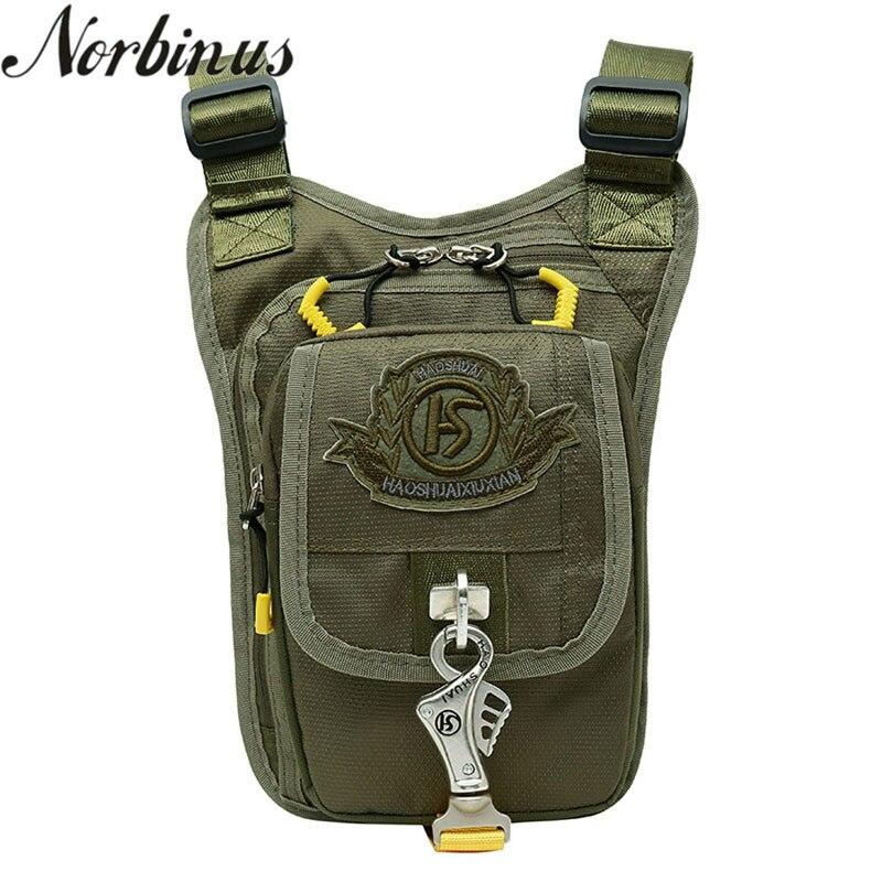 Norbinus Men's Nylon Drop Leg Bag Waist Fanny Pack Belt Hip Bum Travel Motorcycle Thigh Pouch Crossbody Messenger Shoulder Bag