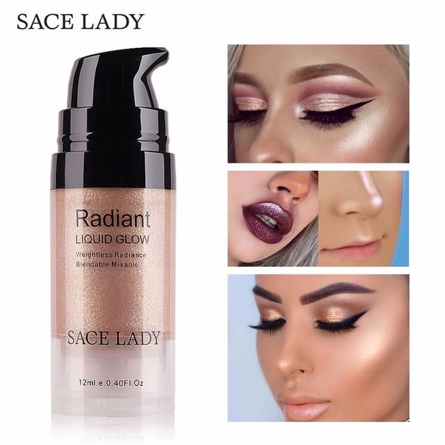 SACE леди Сияющий макияж хайлайтер крем для лица скрасить Professional Shimmer Make Up Liquid Комплект свечения красота бренд косметический