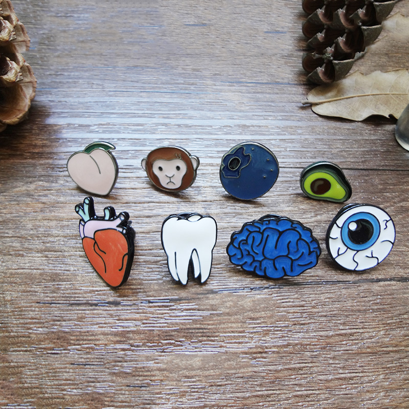 Funny Harajuku Jewelry Teeth Organ Avocado Blueberry Fruit Pin Brooch Bag Coat shirts Bag Dress