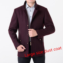 2016 winter men's coat single-breastedslim thicker wool jacket male trench coat manteau large size 7XL 8XLFree shipping