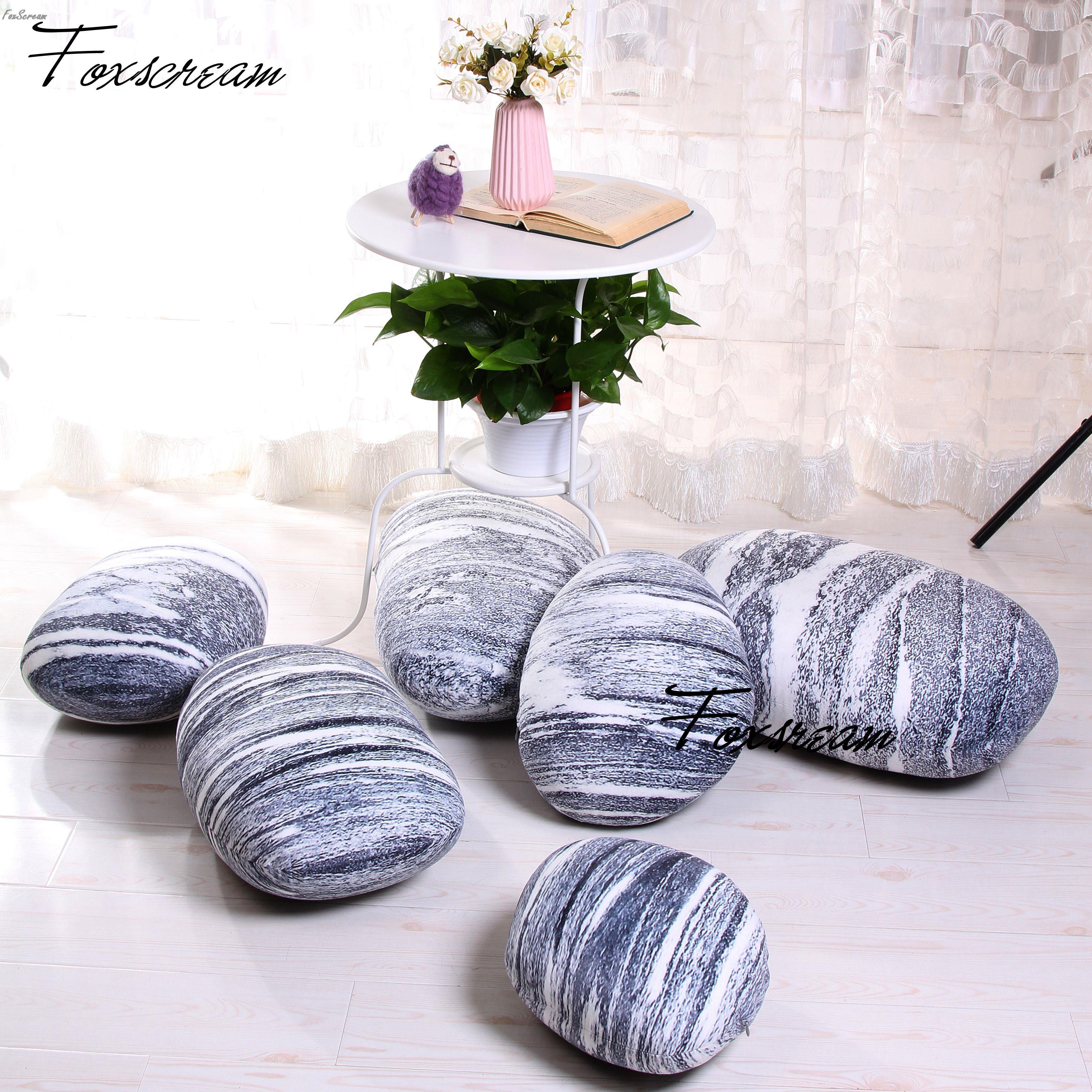 Coussins d'extérieur modernes 6 pièces pierres oreillers couvertures, coloré pays route galets coussins de sol couverture, jeter oreiller en plein air