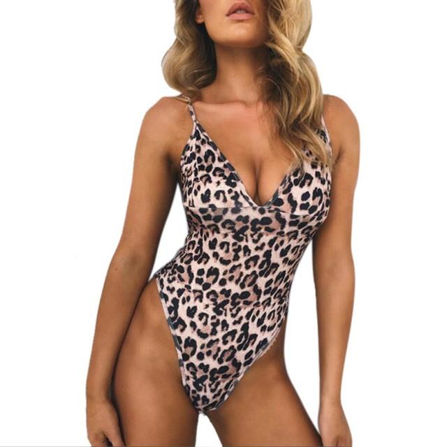 Women Summer Sexy Beach Wear One Piece Suit Leopard Swimsuit Swimwear Monokini Push Up Bikini