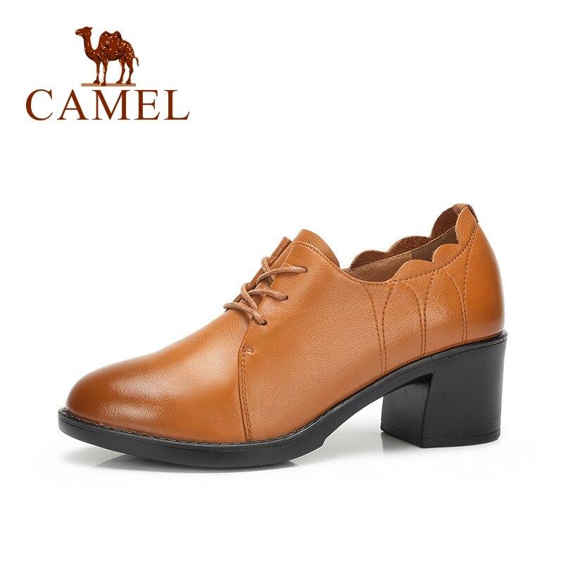 CAMEL Women Genuine Leather Lace Shose Women Hollow Thick Heel Ladies Pumps Retro Autumn Wild Fashion