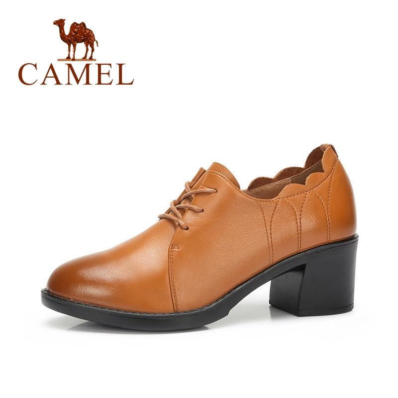 CAMEL ผู้หญิงหนังลูกไม้รองเท้าผู้หญิง Hollow ส้นหนาปั๊มสุภาพสตรี Retro ฤดูใบไม้ร่วงป่าแฟชั่น Causal สุภาพสตรีส้นสูง-ใน รองเท้าส้นสูงสตรี จาก รองเท้า บน   1