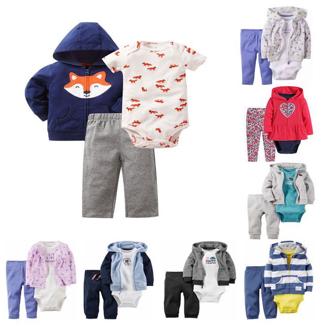 3 Peças Conjunto de Roupas de Bebê 16 de Inverno Com Capuz Bebê Recém-nascido Menino Roupas de menina Set Crianças Adorável Roupas de Algodão 6-24 Meses Macacão de Bebê