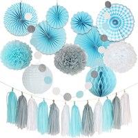 HAOCHU 24 Teile/satz Mix Größe DIY Weiß Grau Blau Seidenpapier Fan Papier Pom Pom Hochzeit Geburtstagsfeier Urlaub Room Decor liefert