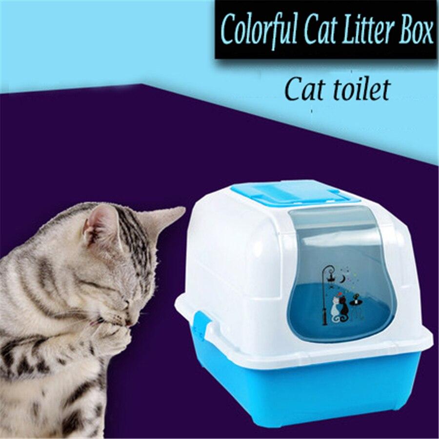 Закрытый ящик для мусора лопатой кошачий Туалет приучения к горшку дом туалете бассейна для Товары для кошек Пластик хомяк Ванная комната т...