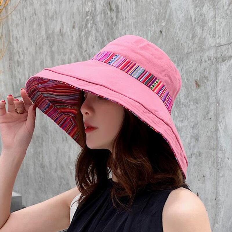 HTB18hWDbx rK1RkHFqDq6yJAFXax - Double sided irregular Pattern Bucket Hat Women Summer Cotton Breathable Leisure Bob Caps Outdoor Sports Casual Dome Panama Cap