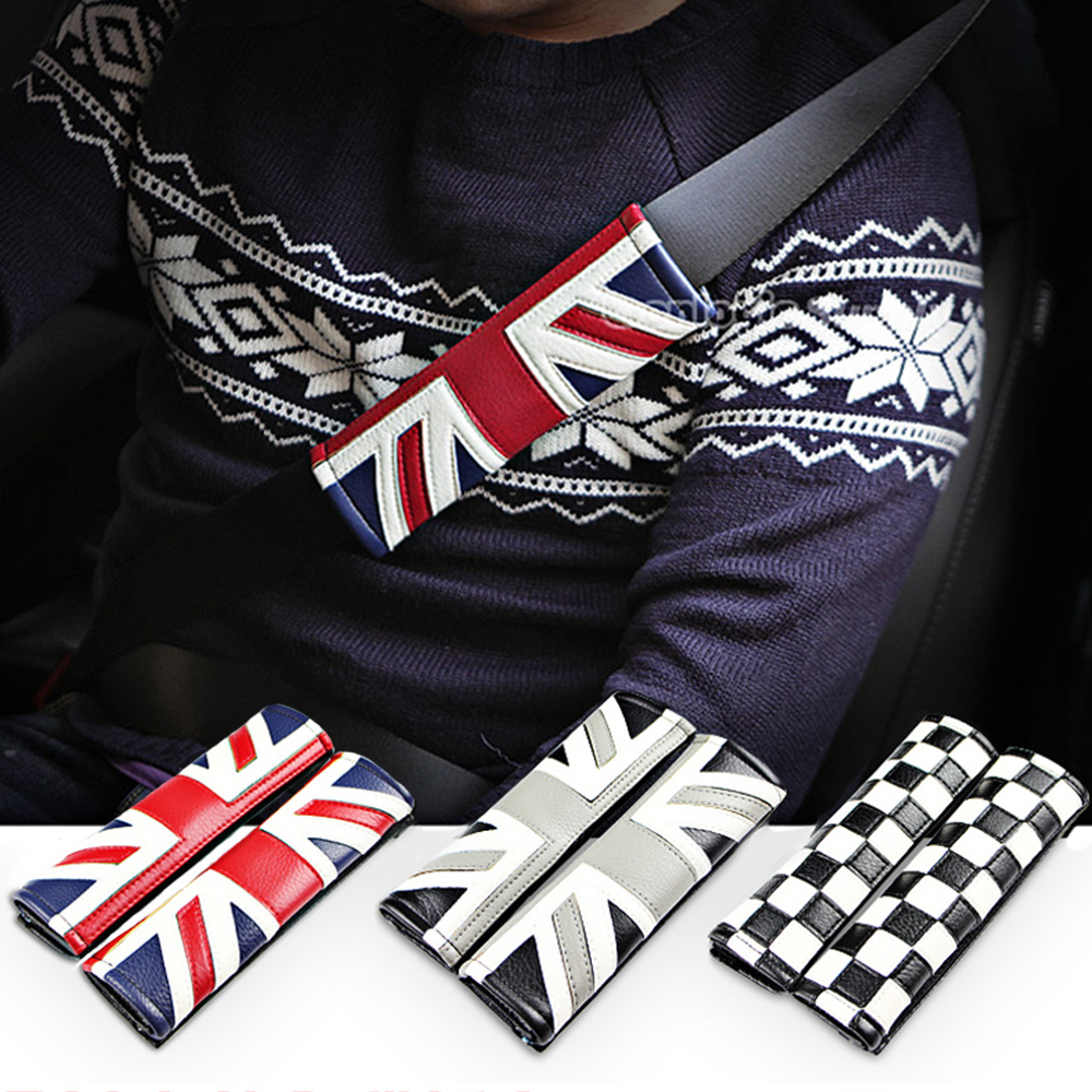 PU Safety Seat Belt Cover Shoulders Pad For MINI Cooper JCW One S Countryman Paceman Clubman F55 F56 F60 R60 R61 R56 Car Styling hood stripes car stickers decals car styling for mini cooper s countryman clubman paceman r56 r60 r61 f54 f55 f56 accessories
