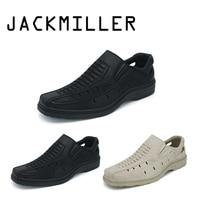 Jackmiller Summer Men Sandals Super Light Weight Comfortable Sandals men PU Breathable shoe Color Black & Beige Free shipping