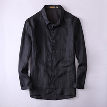 New brand long men linen shirt black fashion flax men shirts