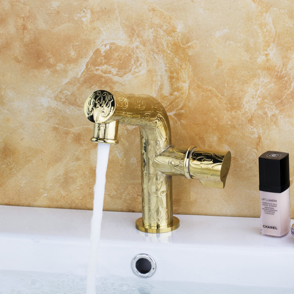Best Faucet Fast Shipping grifo Deck Mounted Bathroom Golden Polished Faucet Single Lever Vanity Sink  Mixer Water Tap deck mount single lever bathroom sink faucet waterfall mixer tap gold polished