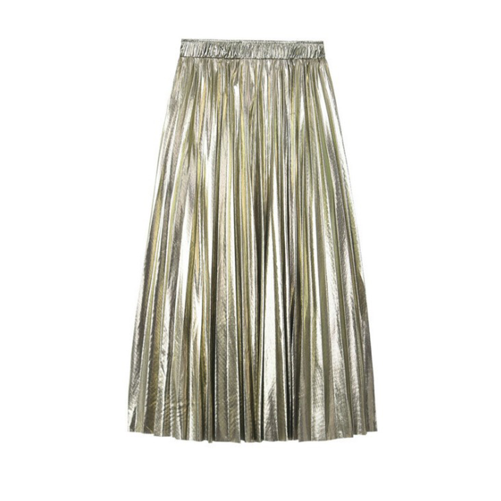 HTB18hWKU4YaK1RjSZFnq6y80pXay - Autumn Women Pleated Skirt Elegant High Waist Women Long Skirt Ladies Silver Gold Metallic Shiny Ankle-Length Maxi Skirt