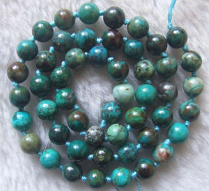 Image 1 - 6mm 7mm 10mm Natürliche Chrysokoll Runde Lose Perlen 15,5 Inch