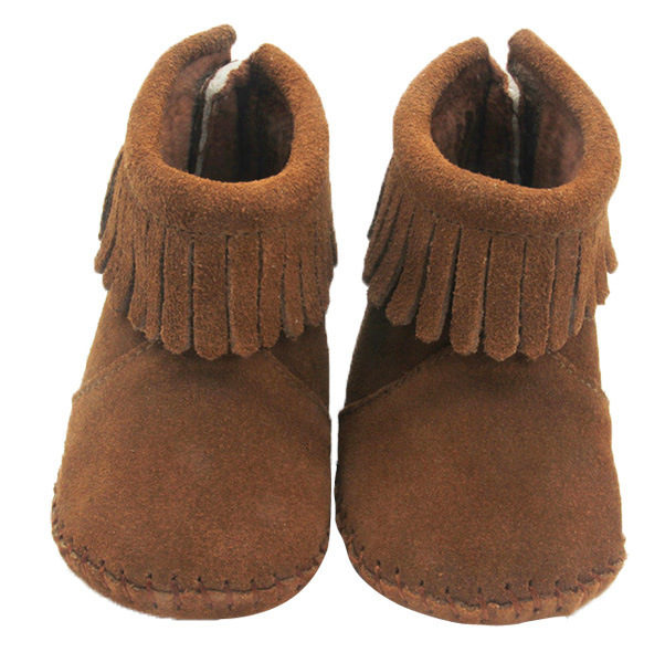 Alta Qualidade de Couro de Vaca Botas de Neve Marrom Escuro Crianças Primeiro Walkers Do Bebê Moda Borla Criança Menino Menina Mocassins