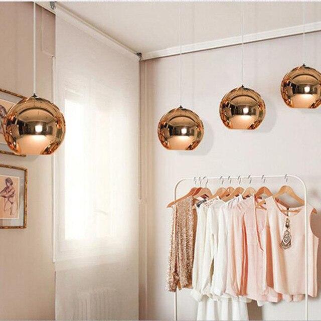 Globe Copper Color Glass Mirror Ball Pendant Light Electroplate Hanging Lamp Lighting Fixture for KTV Dining Room Bar Restaurant