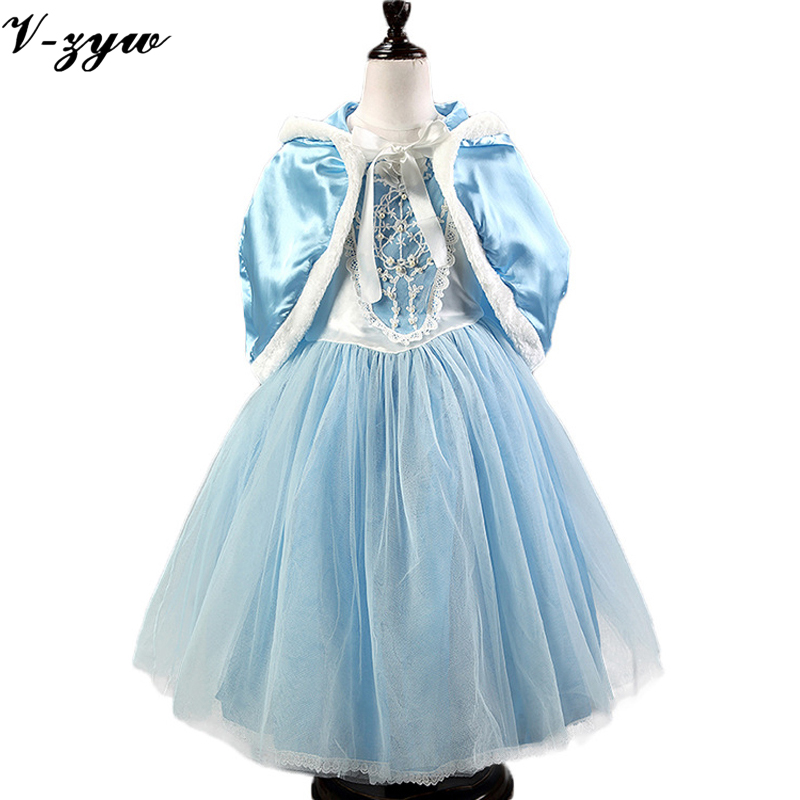 Gown infant cute baby girl dress elza costume flower girls dresses for party and wedding dress blue kids 2 pieces dresses+shawl summer baby dress voile floral wedding dresses for girls toddler infant girl vestido infantil girls costume cute dress clothes