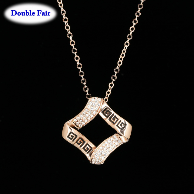 Vintage Style Top Quality Cubic Zirconia Rose Gold Color Necklace