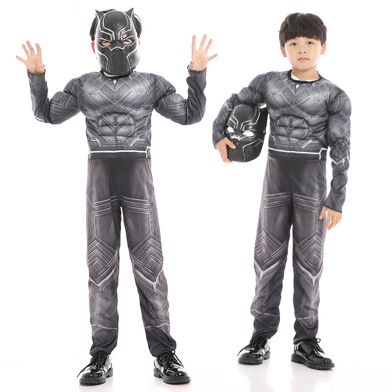 Boys Black Panther Cosplay Costumes Superhero Cosplay Child Mask Muscle Suit Children Halloween Christmas Costume Kids  Clothing