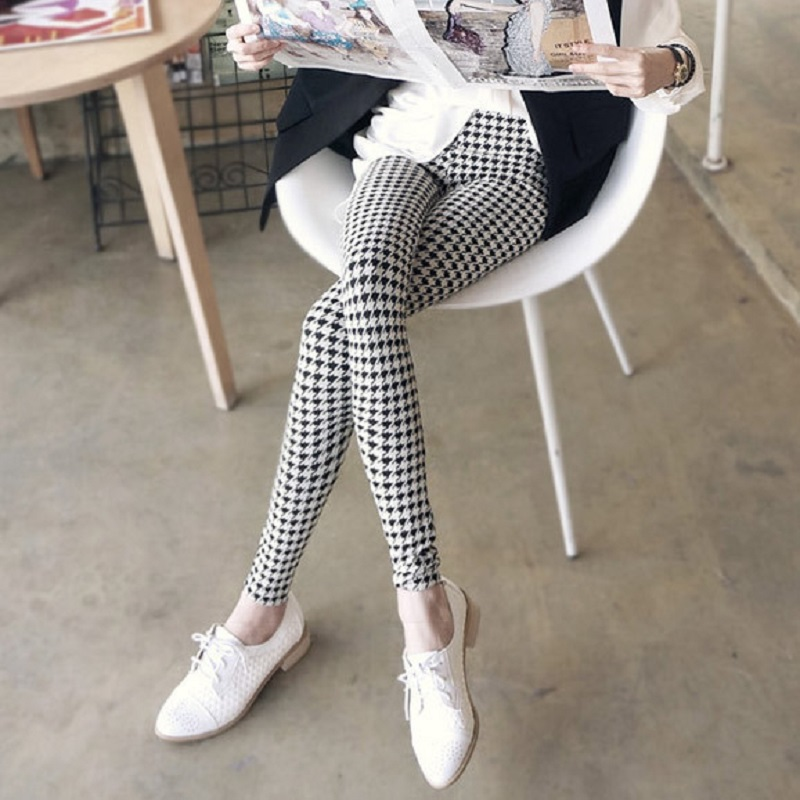 2019 New Women Clothing Denim Casual Knitting Grid Printing Female Lady Milk Silk  Jeans Women Pants & Capris,Drop Shipping, Gift , Hy4841