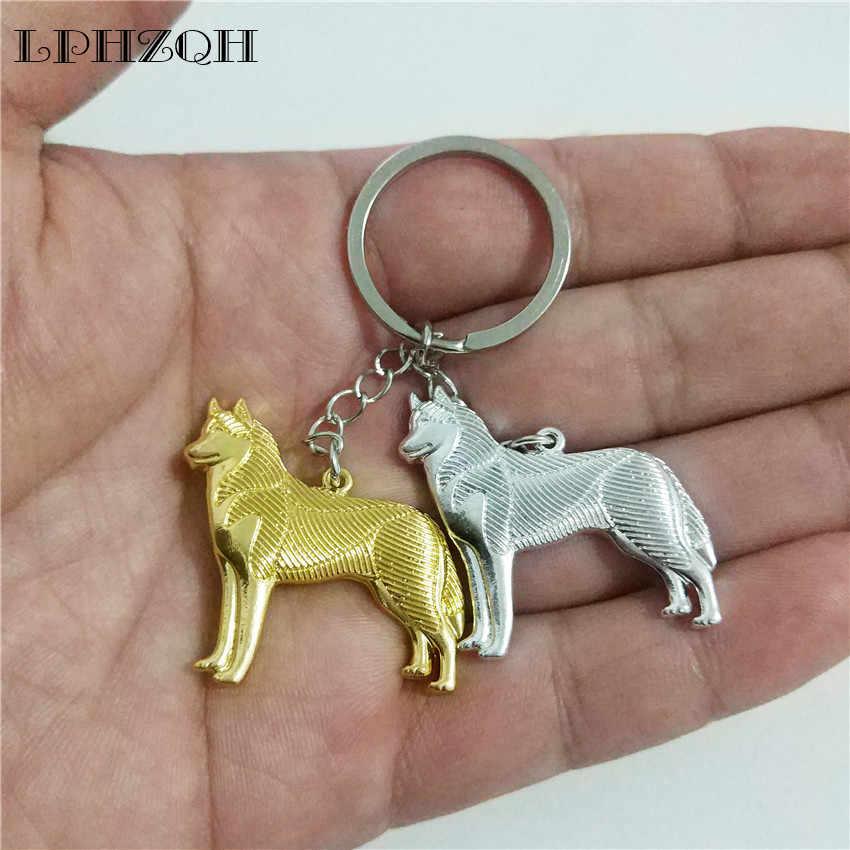 Lphzqh thời trang boho chic dễ thương chó husky hợp thời trang car key chain nữ túi xách pendant charm phụ kiện key ring jewelery steampunk