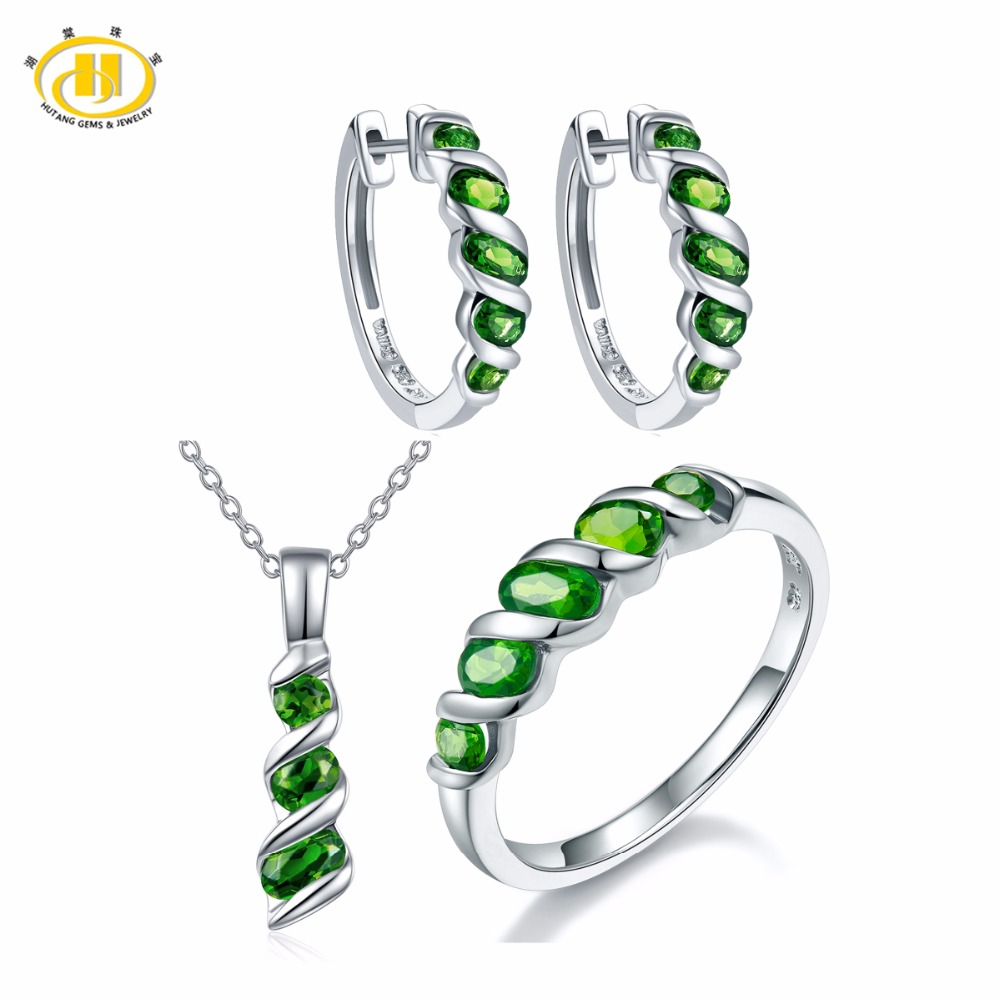Hutang Jewelry Sets Natural Gemstone Chrome Diopside Solid 925 Sterling Silver Earrings Ring Pendant Fine Fashion Bridal JewelryHutang Jewelry Sets Natural Gemstone Chrome Diopside Solid 925 Sterling Silver Earrings Ring Pendant Fine Fashion Bridal Jewelry
