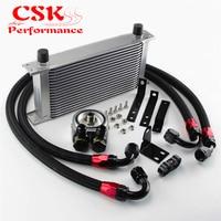 Aluminum 19 Row Engine Oil Cooler w/ Filter Adapter Kit Fits For S2000 F20 F22 AP1 AP2 00 04 F20C 2.0L 05 09 Silve/Black