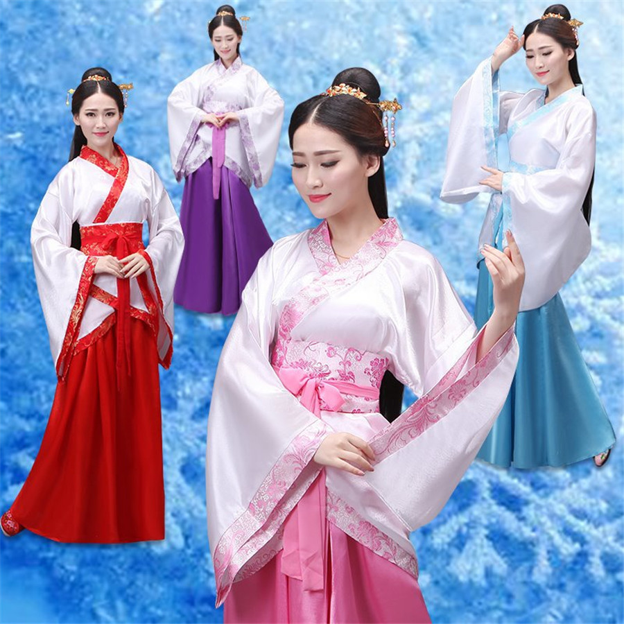 Cheap Women National Dress Chinese Ancient Hanfu Dance Clothes Traditional Cosplay Costume Lady Chinese Stage Dresses