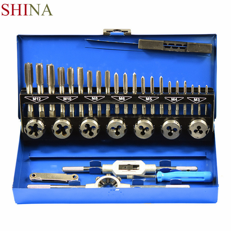 Shina 32PCS HSS Tap And Die Set M3-M12 Mould Drill Thread Taps Carbon Steel Hand Tools CNC Machine Screws Metric Taps 4pcs set hand tap hex shank hss screw spiral point thread metric plug drill bits m3 m4 m5 m6 hand tools