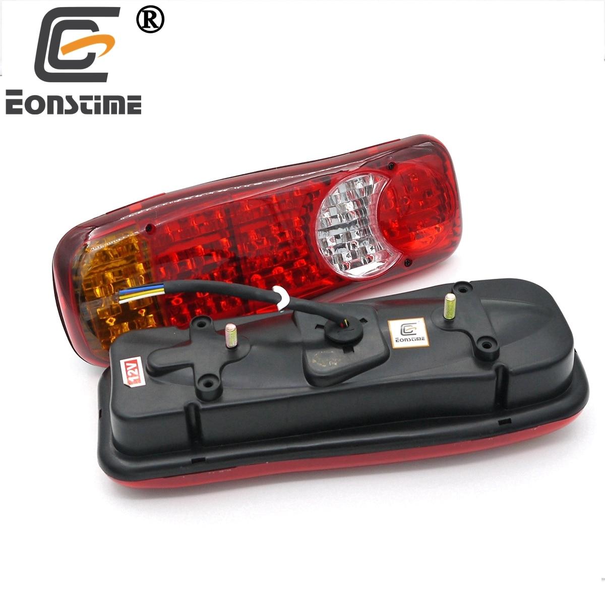 Eonstime 2pcs 12V/24V Automobiles Vehicle Trailer Car Truck LED Stop Rear Tail Indicator Fog Lights Reverse Van Auto LED Lamps