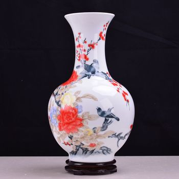 Jingdezhen ceramic vase with Mao porcelain traditional porcelain peony flower collection Home Furnishing magpie factory