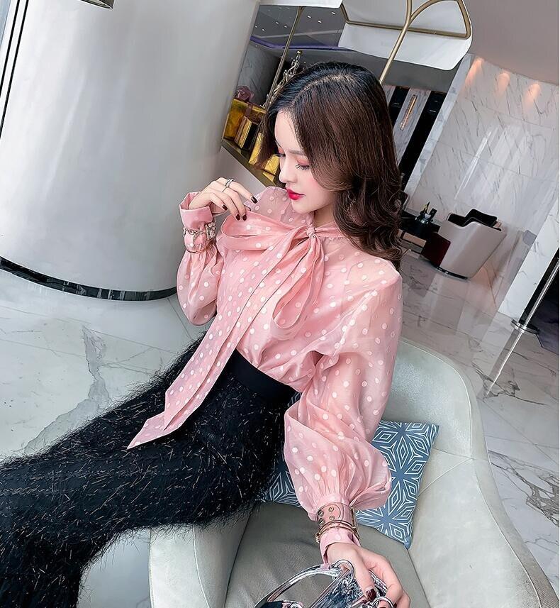 Lanterne Hauts Nœud Chemise Femmes Dot Blusas Polka Wang Automne Avec Sleve 2019 Élégante Whitney Printemps Blouse Mode a1fgSnqY