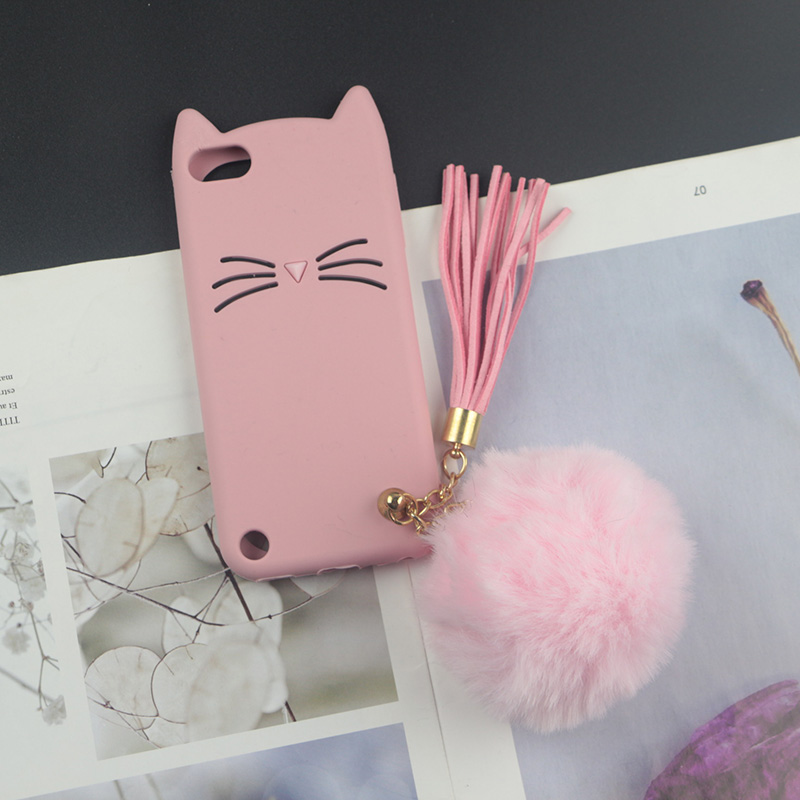 Cute 3D Cartoon Silicon Case for Apple iPod Touch 6 Cases Japan Glitter Beard Cat Lovely Ears Kitty Phone Cover touch 5 touch6