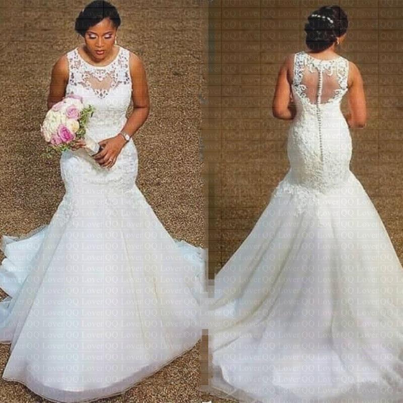 2019 Sheer Neck Appliques Lace Mermaid Wedding Dress Cheap African Bridal Gown Vestido De Noiva