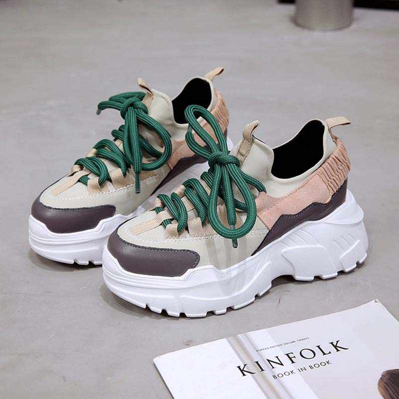 GNOME 2019 Women Casual Shoes Korean Version Retro Sneakers Shoes Mixed  Color Women Trainers Thick Bottom f0939b1ea994
