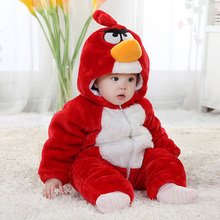 Red bird design photography rompers clothing baby kids wear
