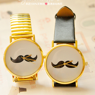 Free shipping hottest sales little beard ladies watch black leather strap metal watchband