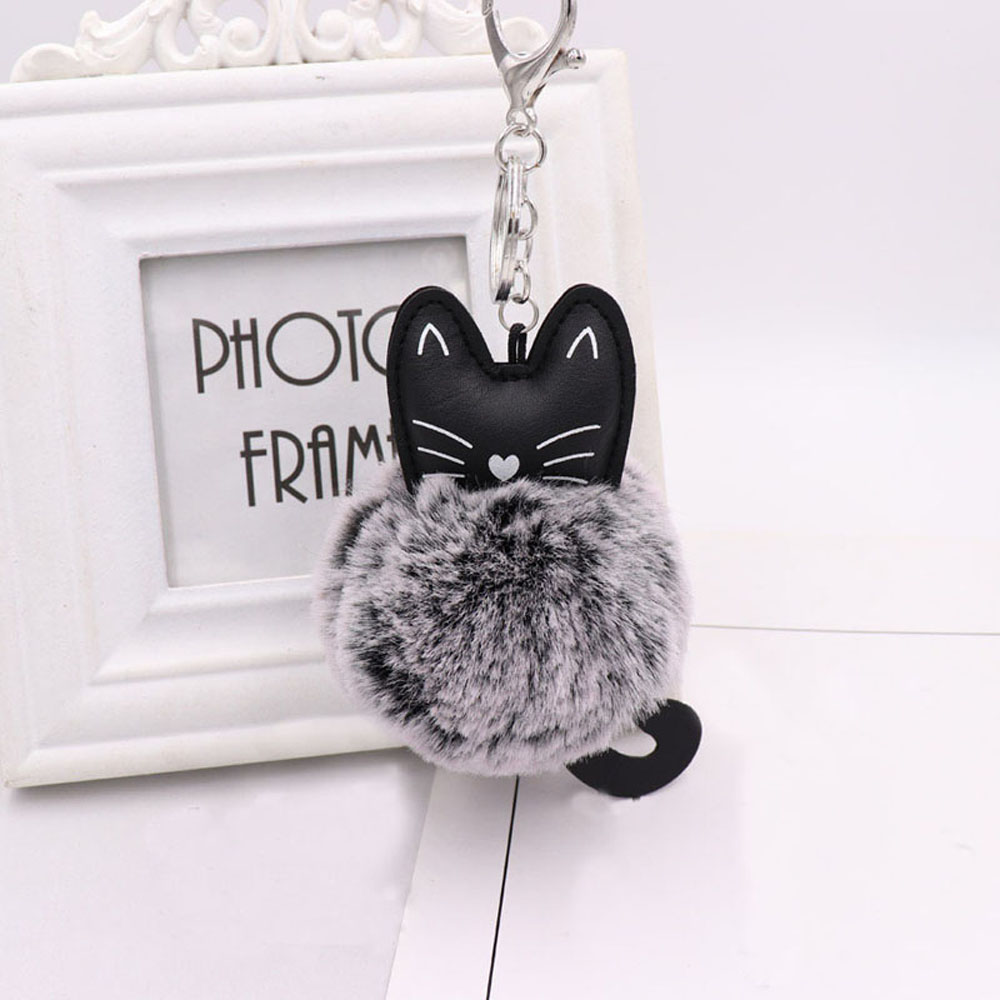 1Pc Fashion Women Bag Pendent Pompom Fluffy Cat Handbag Accessories Faux Rabbit Fur Fashion Backpack Accessories Kids Gift