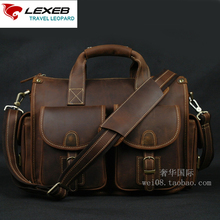 LEXEB Crazy Horse Leather Men's Messenger Post Satchels Bags For 13.3 Laptop Vintage Crossbody Bag Cell Phone Attachment Coffee