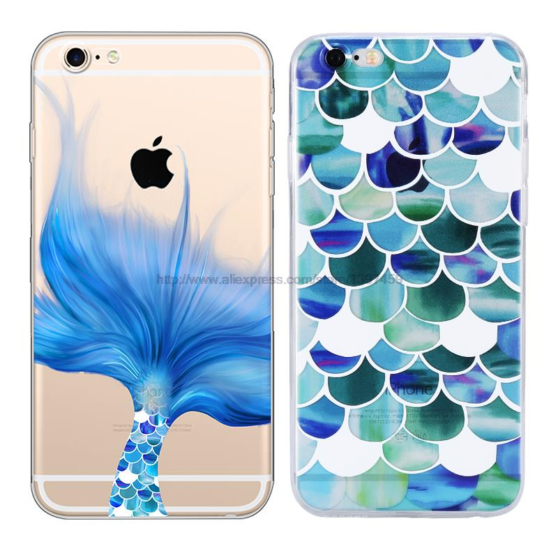 outlet store 08f78 33d2f US $2.5 |Beautiful Mermaid Scales Ultra Thin Soft Tpu Phone Case Coque For  Apple Iphone 6 6s Plus Rubber Funda Cover-in Fitted Cases from Cellphones &  ...