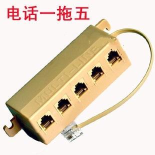 RJ11 6P4C Multi-line Telephone Splitter Adapter (1x 6P4C plug to 5x 6P4C sockets) - Telecom 1 to 5 Splitter Adapter