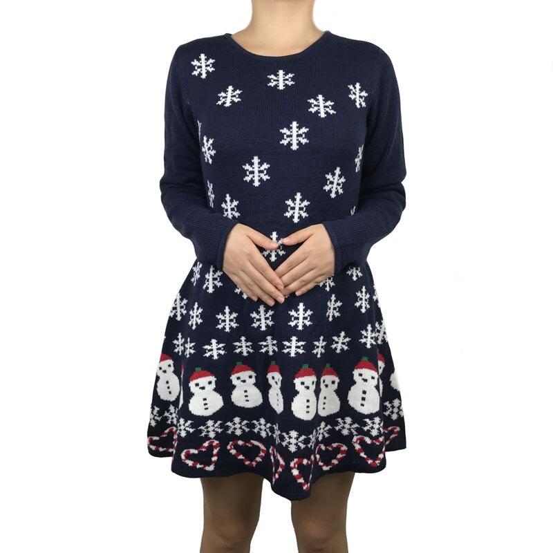 Женское трикотажное платье свитер со снеговиком средней длины Kawaii Милое пуловер