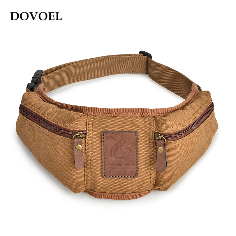DOVOEL Canvas Waist Pack Male Crossbody Back Single Belt Male Travel Security Waist Bag Coin Phone Bag Canvas Student Bag BV278X